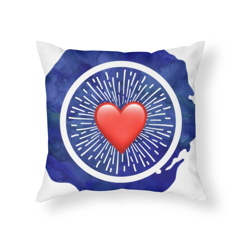 Red Heart Blue Stamp Home Throw Pillow by IF Creation's Artist Shop