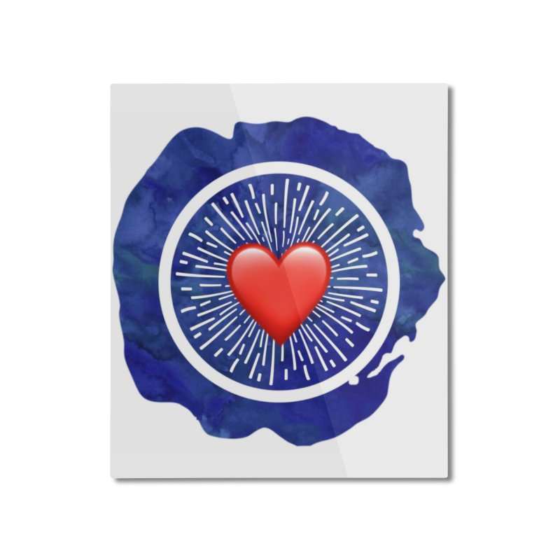 Red Heart Blue Stamp Home Mounted Aluminum Print by IF Creation's Artist Shop