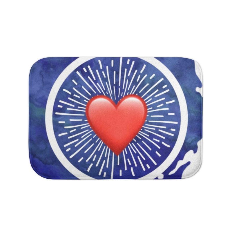 Red Heart Blue Stamp Home Bath Mat by IF Creation's Artist Shop