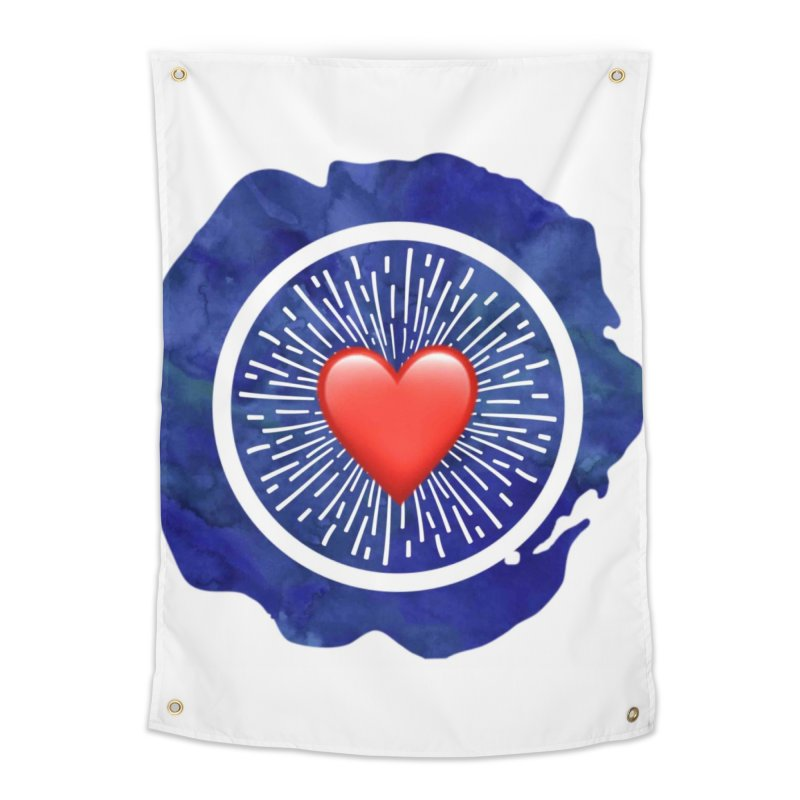 Red Heart Blue Stamp Home Tapestry by IF Creation's Artist Shop
