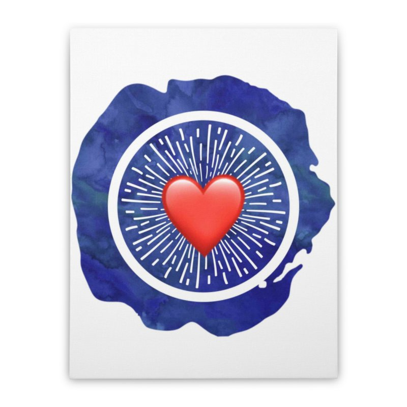 Red Heart Blue Stamp Home Stretched Canvas by IF Creation's Artist Shop