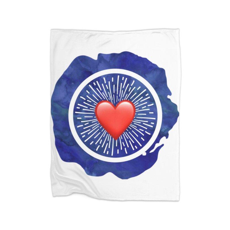Red Heart Blue Stamp Home Fleece Blanket Blanket by IF Creation's Artist Shop