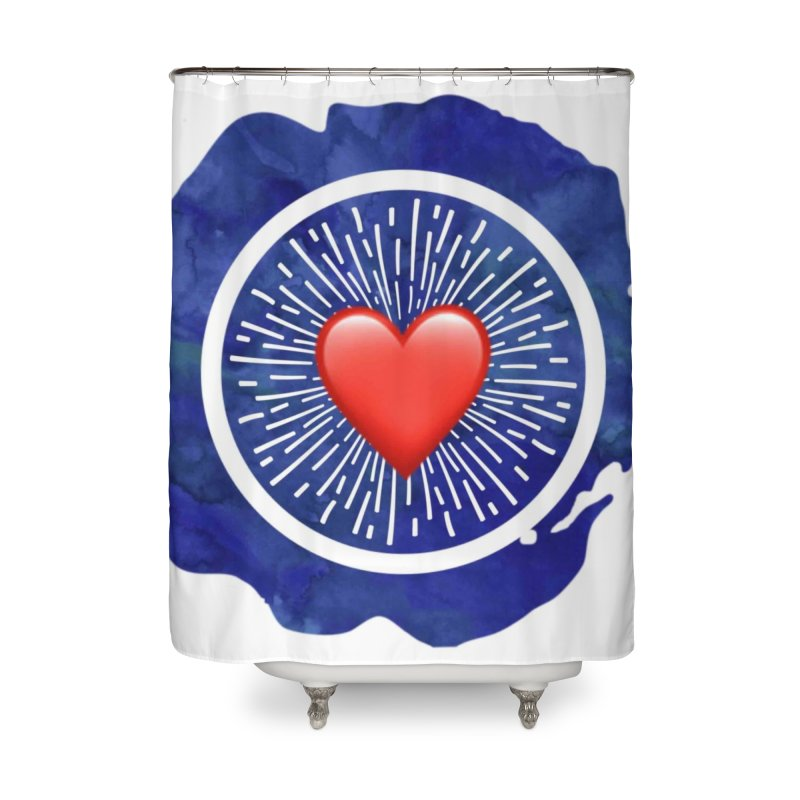 Red Heart Blue Stamp Home Shower Curtain by IF Creation's Artist Shop