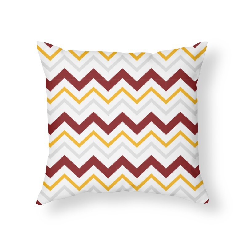 Maroon & Mustard Yellow Zigzag Home Throw Pillow by IF Creation's Artist Shop