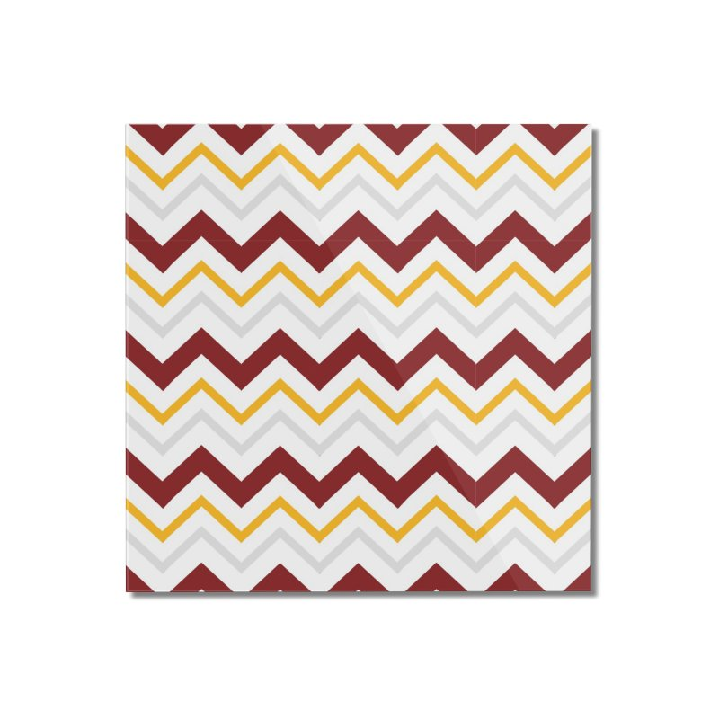 Maroon & Mustard Yellow Zigzag Home Mounted Acrylic Print by IF Creation's Artist Shop