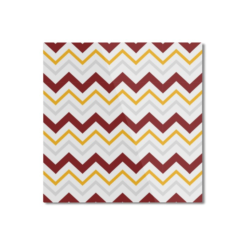 Maroon & Mustard Yellow Zigzag Home Mounted Aluminum Print by IF Creation's Artist Shop