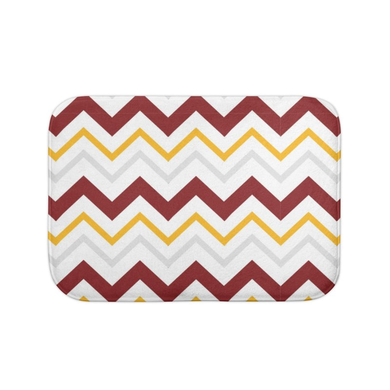 Maroon & Mustard Yellow Zigzag Home Bath Mat by IF Creation's Artist Shop