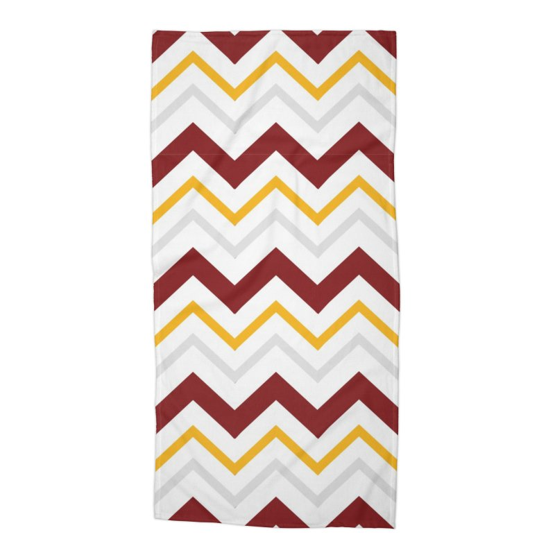 Maroon & Mustard Yellow Zigzag Accessories Beach Towel by IF Creation's Artist Shop