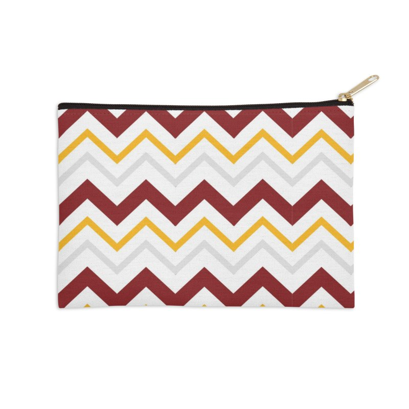 Maroon & Mustard Yellow Zigzag Accessories Zip Pouch by IF Creation's Artist Shop