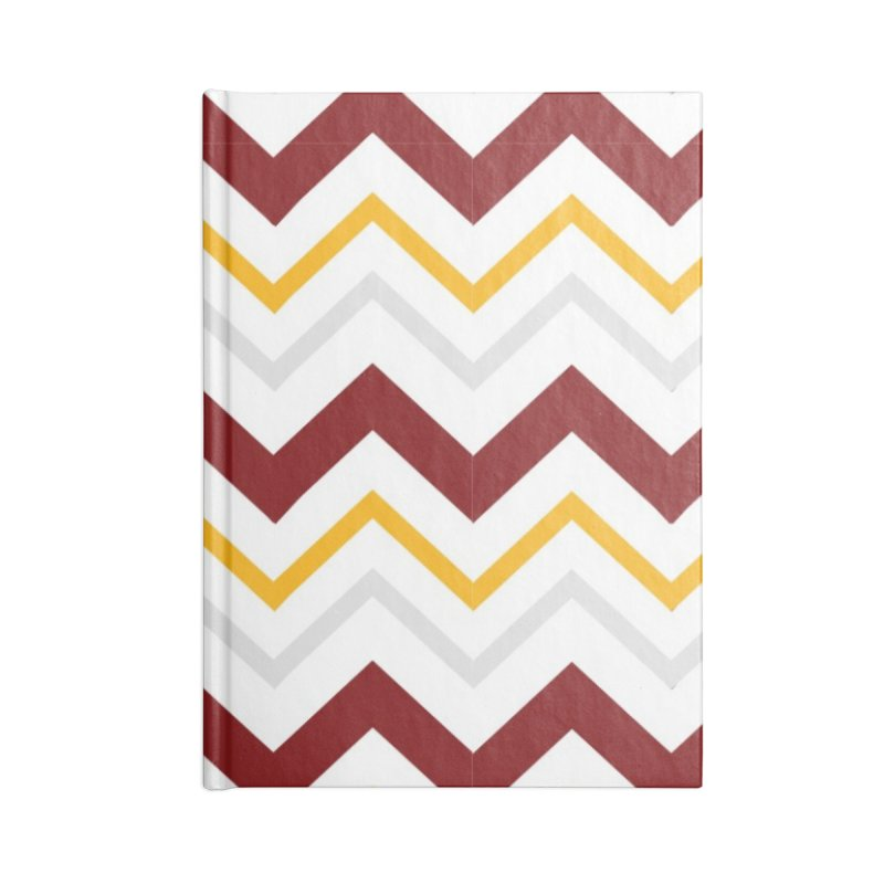 Maroon & Mustard Yellow Zigzag Accessories Blank Journal Notebook by IF Creation's Artist Shop