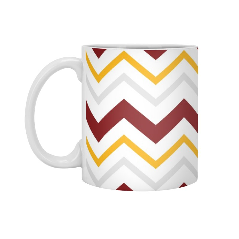 Maroon & Mustard Yellow Zigzag Accessories Mug by IF Creation's Artist Shop