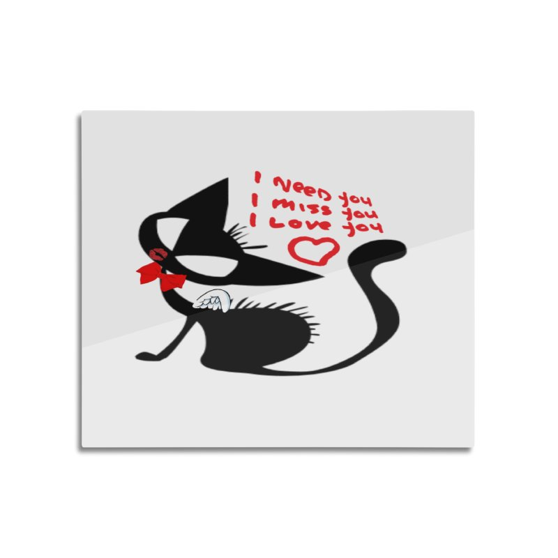 Cute Pussy Cat Love Home Mounted Aluminum Print by IF Creation's Artist Shop