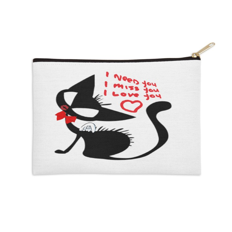 Cute Pussy Cat Love Accessories Zip Pouch by IF Creation's Artist Shop
