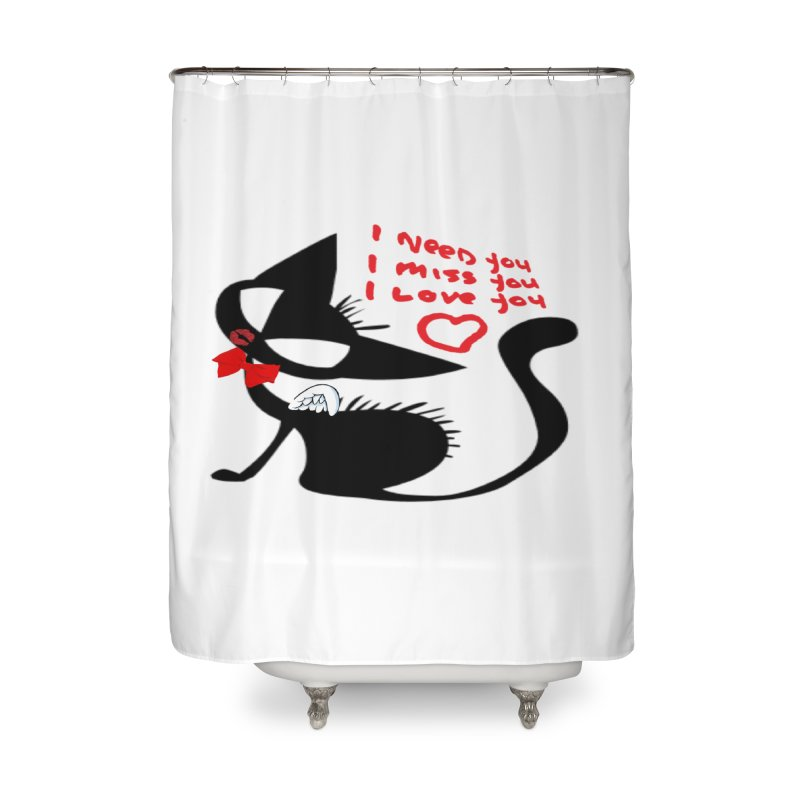 Cute Pussy Cat Love Home Shower Curtain by IF Creation's Artist Shop
