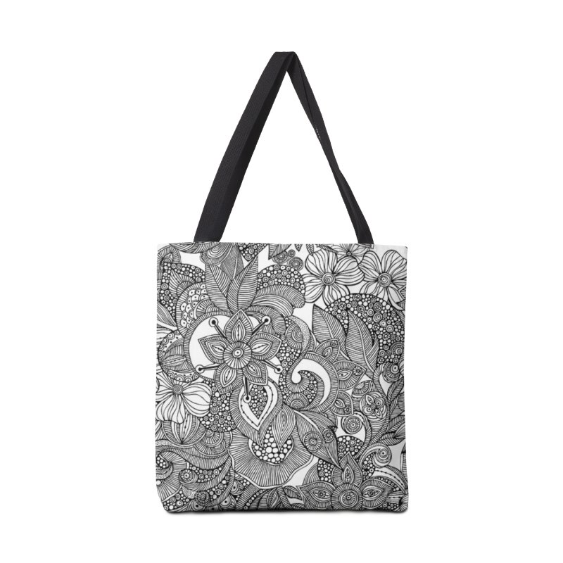 BLACK & WHITE FLORAL Accessories Bag by IF Creation's Artist Shop