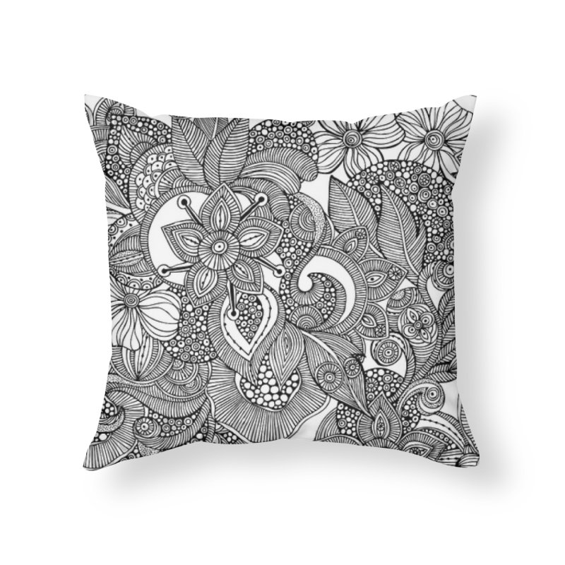 BLACK & WHITE FLORAL Home Throw Pillow by IF Creation's Artist Shop