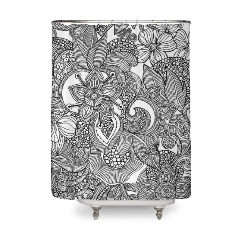 BLACK & WHITE FLORAL Home Shower Curtain by IF Creation's Artist Shop
