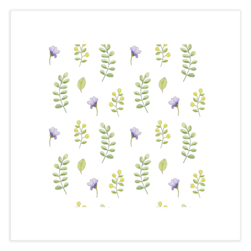 Purple Flowers & Leafs Home Fine Art Print by IF Creation's Artist Shop