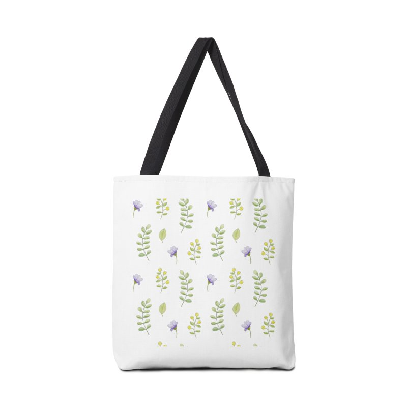 Purple Flowers & Leafs Accessories Tote Bag Bag by IF Creation's Artist Shop