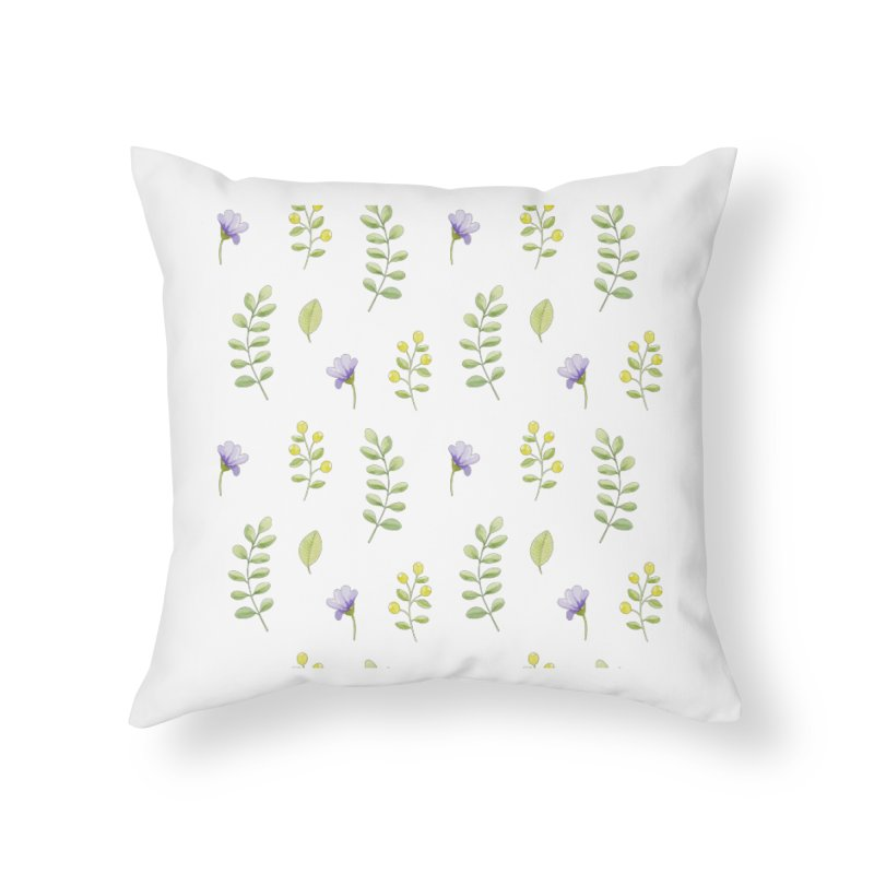 Purple Flowers & Leafs Home Throw Pillow by IF Creation's Artist Shop