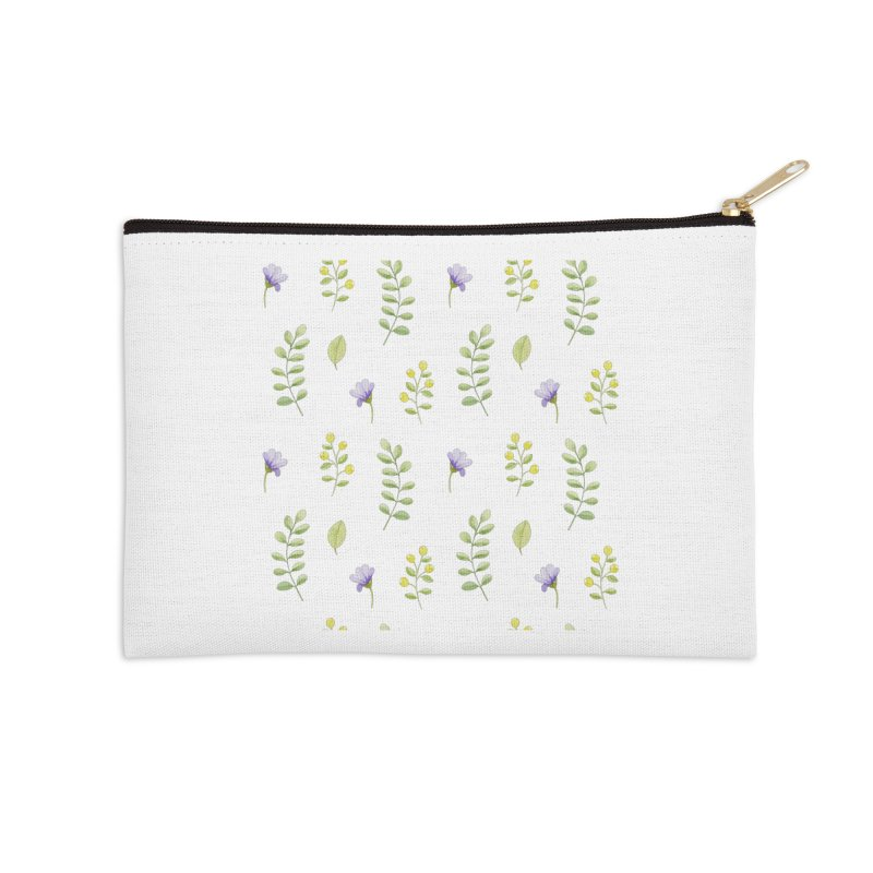 Purple Flowers & Leafs Accessories Zip Pouch by IF Creation's Artist Shop