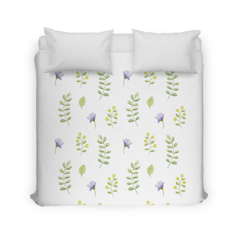 Purple Flowers & Leafs Home Duvet by IF Creation's Artist Shop