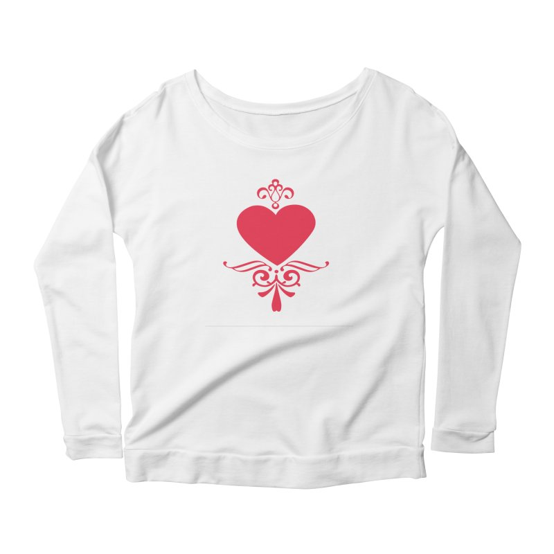 Red Heart Women's Longsleeve Scoopneck  by IF Creation's Artist Shop