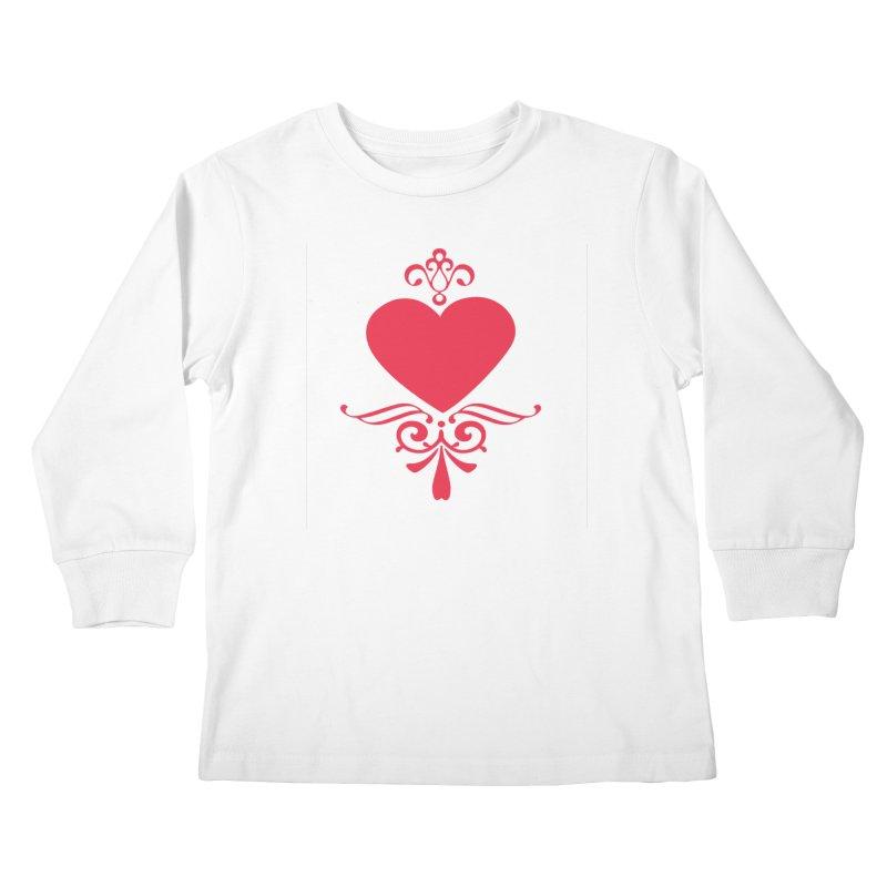 Red Heart Kids Longsleeve T-Shirt by IF Creation's Artist Shop