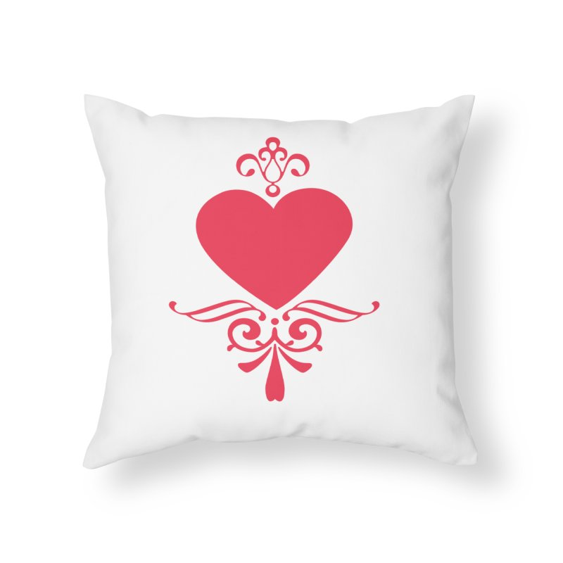 Red Heart Home Throw Pillow by IF Creation's Artist Shop