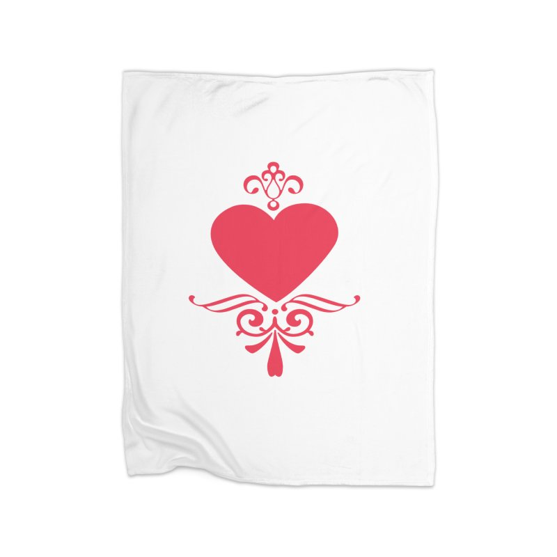 Red Heart Home Fleece Blanket Blanket by IF Creation's Artist Shop