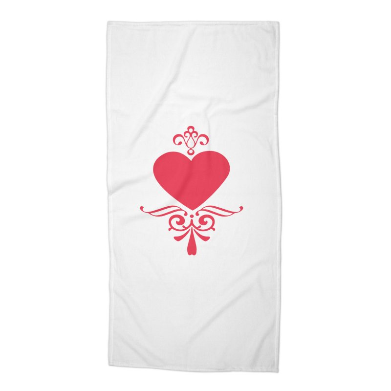 Red Heart Accessories Beach Towel by IF Creation's Artist Shop