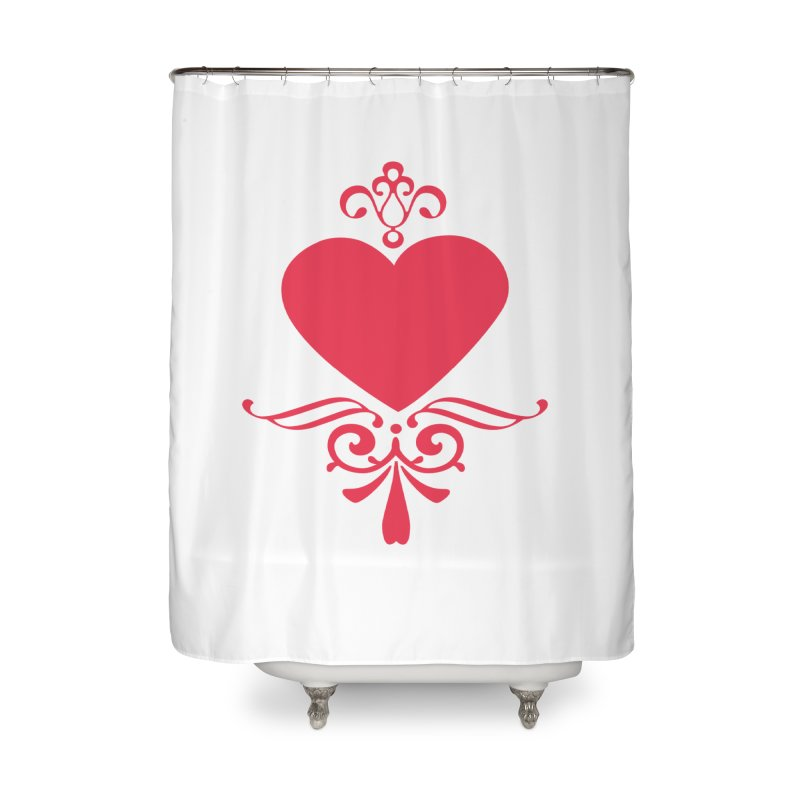 Red Heart Home Shower Curtain by IF Creation's Artist Shop