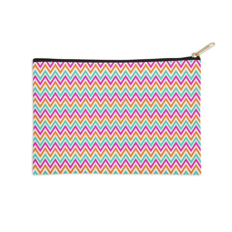 PASTEL ZIGZAG Accessories Zip Pouch by IF Creation's Artist Shop