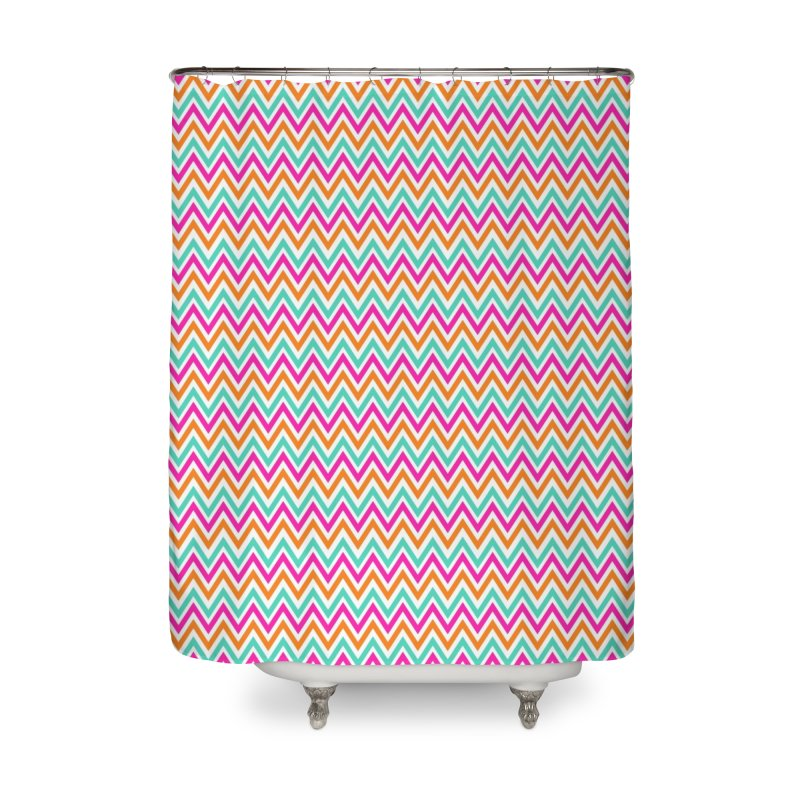 PASTEL ZIGZAG Home Shower Curtain by IF Creation's Artist Shop