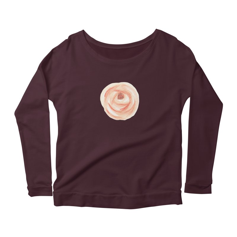 PEACH FLOWER Women's Scoop Neck Longsleeve T-Shirt by IF Creation's Artist Shop