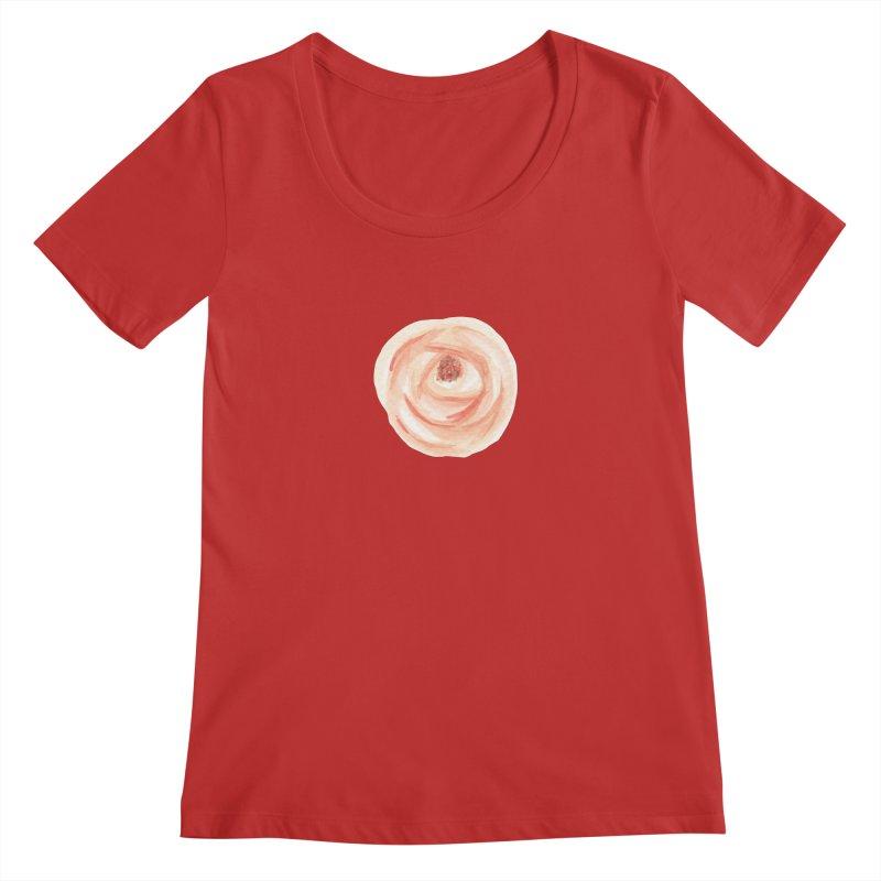 PEACH FLOWER Women's Scoop Neck by IF Creation's Artist Shop