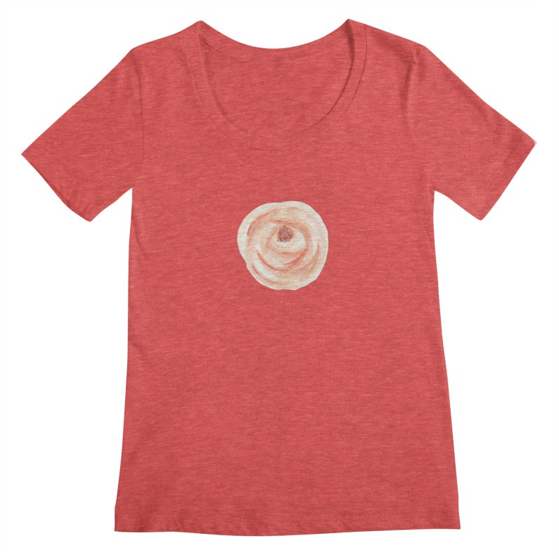PEACH FLOWER Women's Regular Scoop Neck by IF Creation's Artist Shop