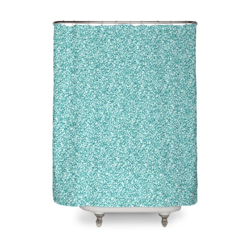 AQUA GLITTER Home Shower Curtain by IF Creation's Artist Shop
