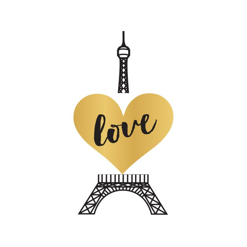 EIFFEL TOWER & GOLD HEART Home Mounted Acrylic Print by IF Creation's Artist Shop