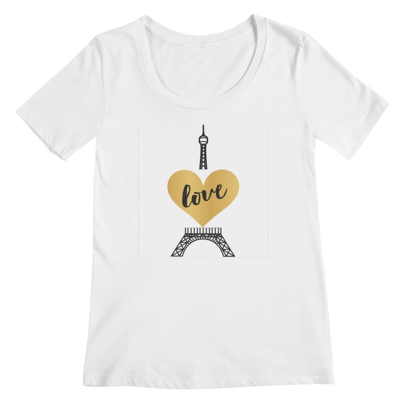 EIFFEL TOWER & GOLD HEART Women's Regular Scoop Neck by IF Creation's Artist Shop