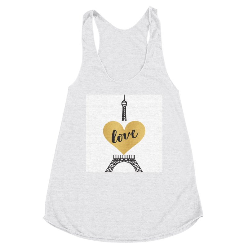 EIFFEL TOWER & GOLD HEART Women's Tank by IF Creation's Artist Shop