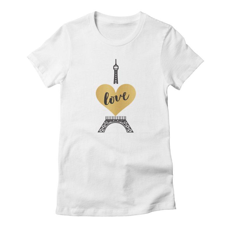 EIFFEL TOWER & GOLD HEART Women's T-Shirt by IF Creation's Artist Shop