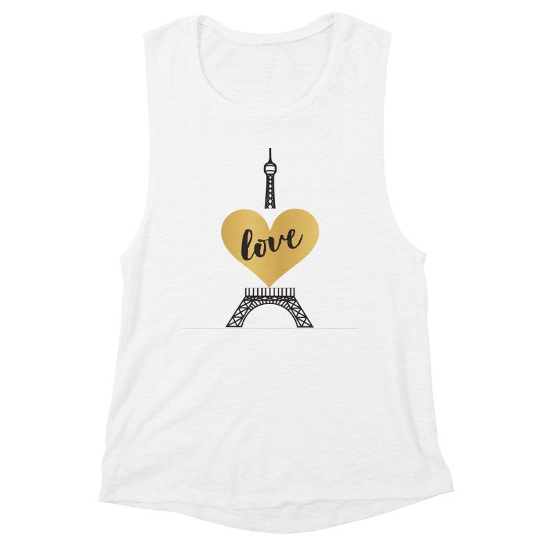 EIFFEL TOWER & GOLD HEART Women's Muscle Tank by IF Creation's Artist Shop