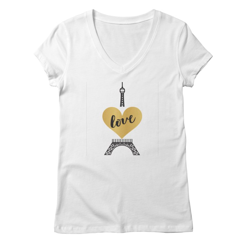 EIFFEL TOWER & GOLD HEART Women's V-Neck by IF Creation's Artist Shop