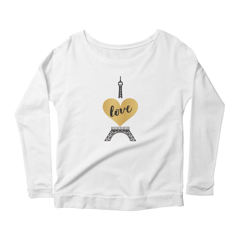 EIFFEL TOWER & GOLD HEART Women's Scoop Neck Longsleeve T-Shirt by IF Creation's Artist Shop