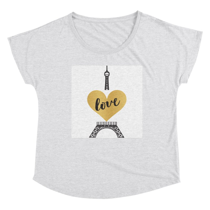EIFFEL TOWER & GOLD HEART Women's Dolman Scoop Neck by IF Creation's Artist Shop