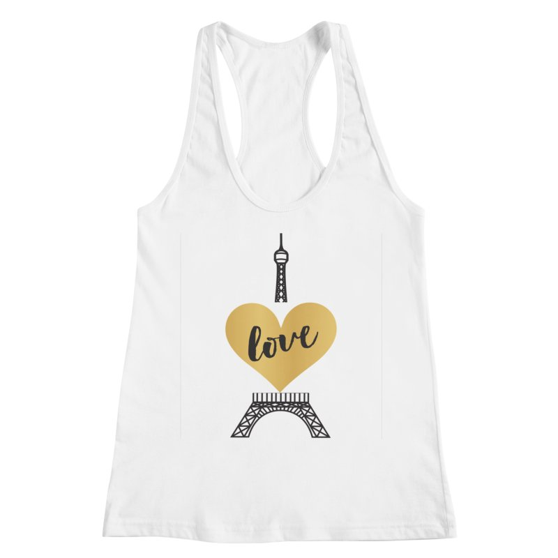 EIFFEL TOWER & GOLD HEART Women's Tank by IF Creation's Artist Shop