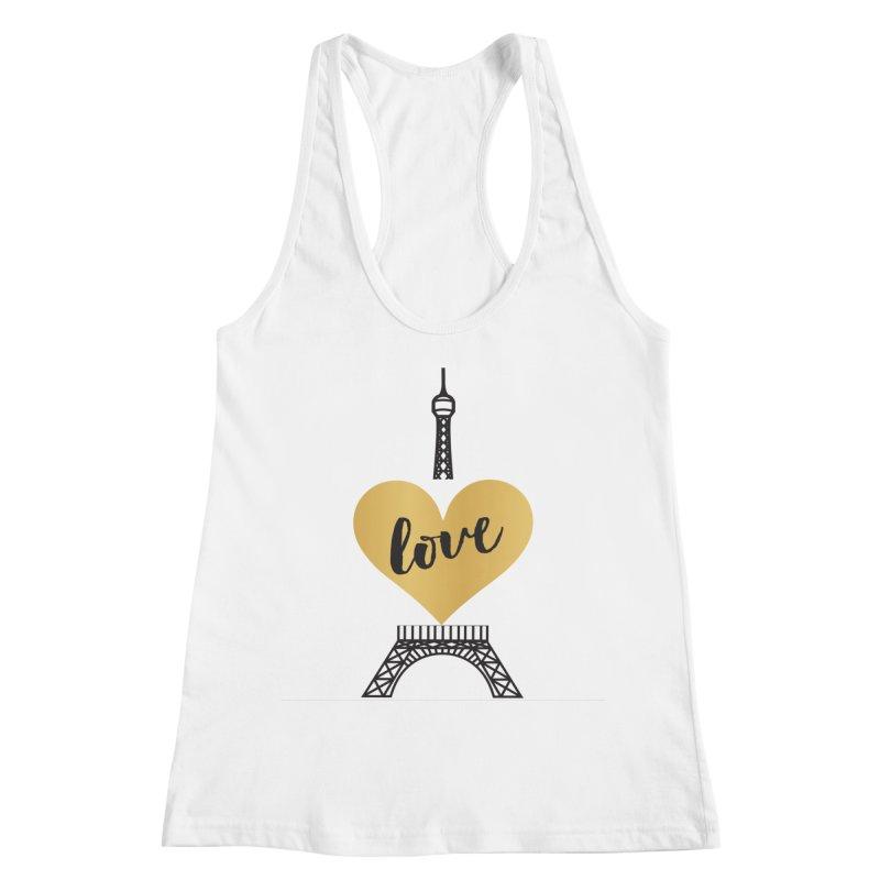 EIFFEL TOWER & GOLD HEART Women's Racerback Tank by IF Creation's Artist Shop