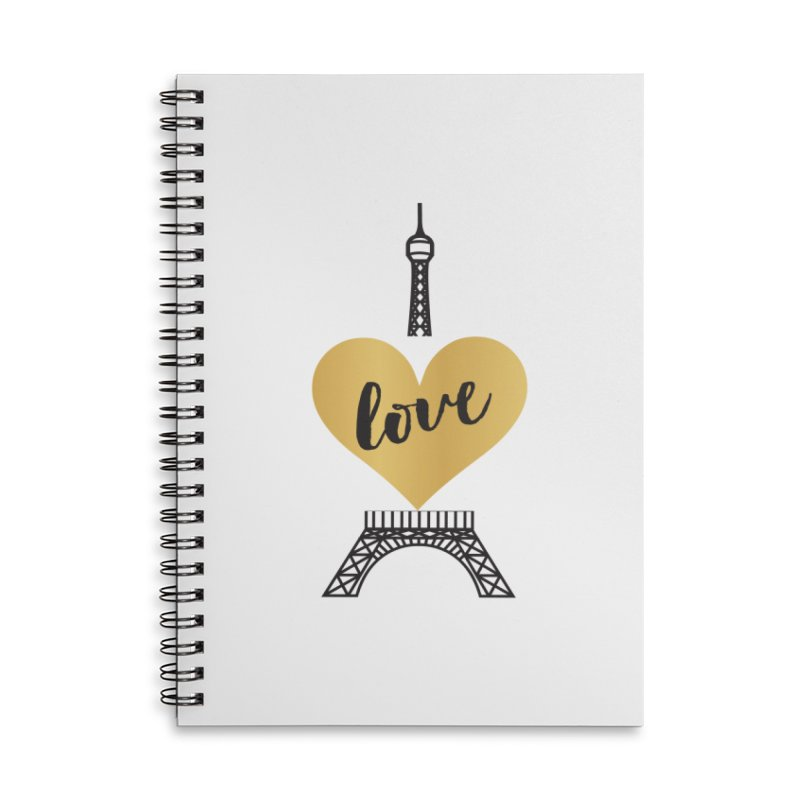 EIFFEL TOWER & GOLD HEART Accessories Lined Spiral Notebook by IF Creation's Artist Shop