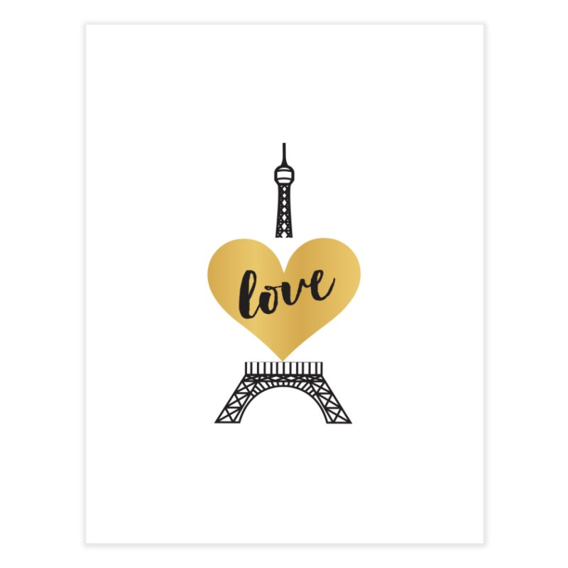 EIFFEL TOWER & GOLD HEART Home Fine Art Print by IF Creation's Artist Shop